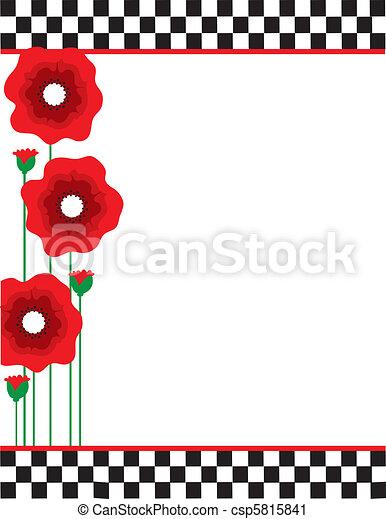 Poppies and Checks - csp5815841