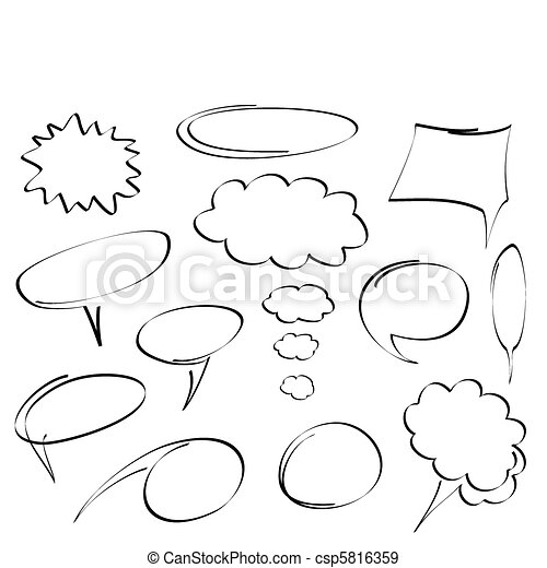 hand-drawn dialog bubbles vector - csp5816359