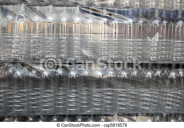 bottle rows stacked wrapped in plastic - csp5816576