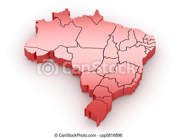 Three-dimensional map of Brazil. 3d - csp5816896