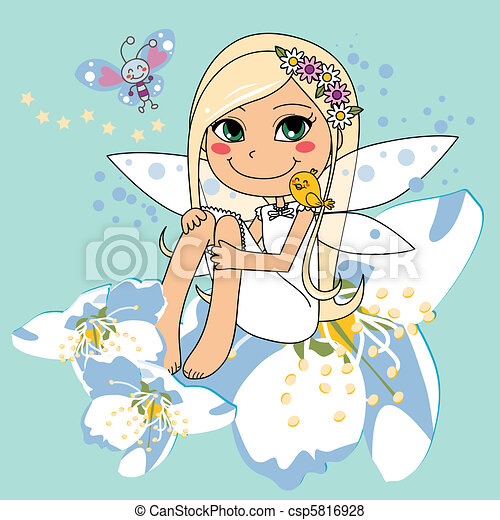 Sweet white pear blossom fairy - csp5816928
