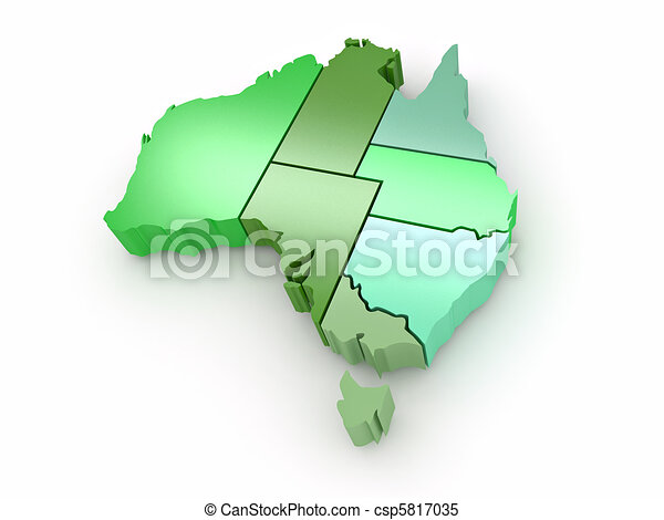 Three-dimensional map of Australia on white isolated background. 3d - csp5817035