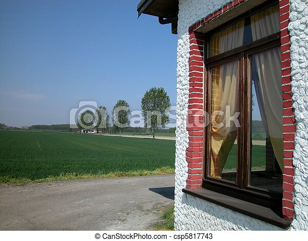 Farm's window in countryside - csp5817743