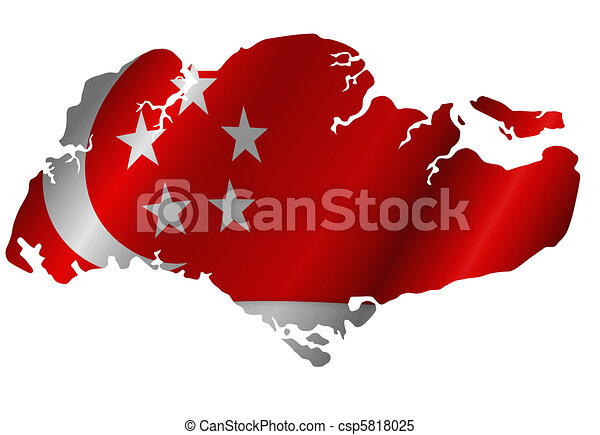 Republic of Singapore Map with Flag Silhouette - csp5818025