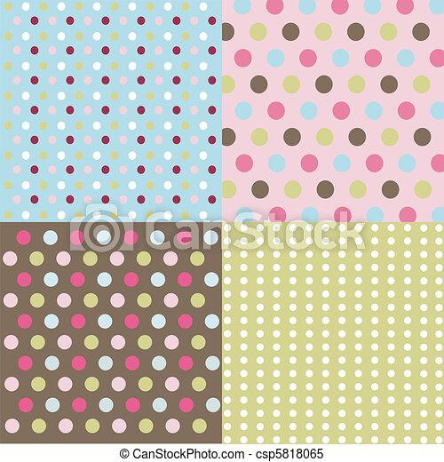 seamless patterns, polka dots set - csp5818065