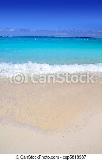Caribbean turquoise sea beach shore white sand - csp5818387
