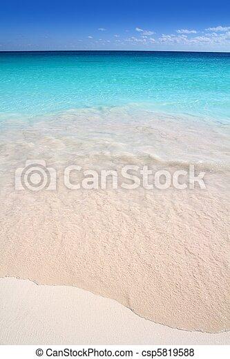 Caribbean turquoise sea beach shore white sand - csp5819588