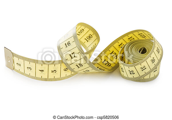 Yellow measuring tape isolated on white background - csp5820506