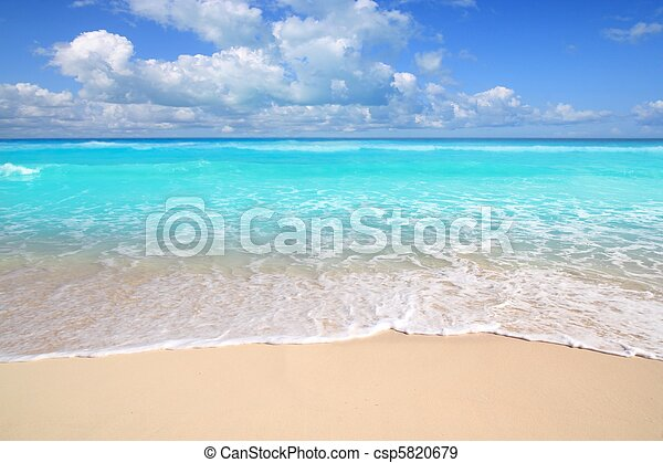 Caribbean turquoise beach perfect sea sunny day - csp5820679