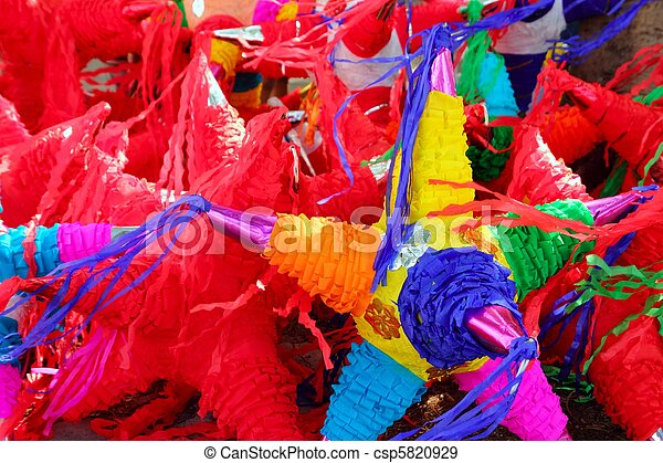 pinatas star shape mexican traditional celebration - csp5820929
