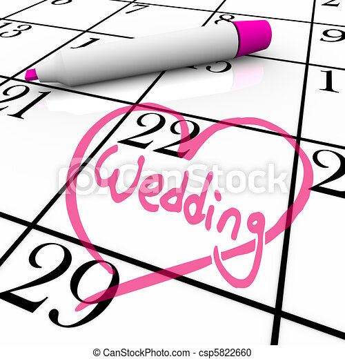 Wedding - Marriage Day Circled with Heart - csp5822660