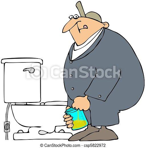 Man Taking A Drug Test. - csp5822972
