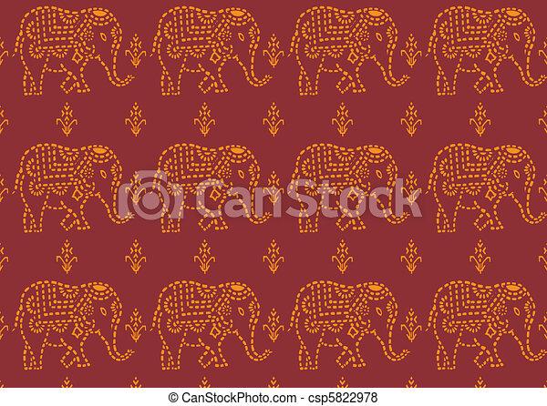 vektor von muster indische elefant seamless rotes und yellowe csp5822978 suchen sie. Black Bedroom Furniture Sets. Home Design Ideas