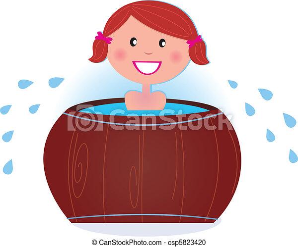 A girl soaking in cold barrel tub after sauna  - csp5823420