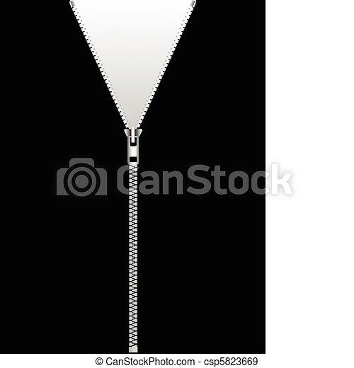 zipper isolated on black - csp5823669