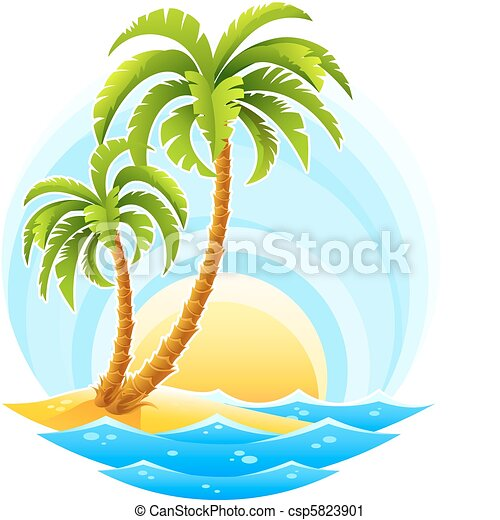 tropical palm with sea wave on sunny background - csp5823901