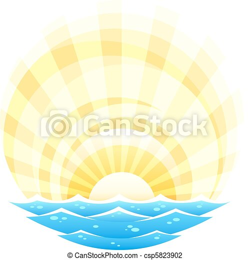 abstract landscape with sea waves and rising sun - csp5823902