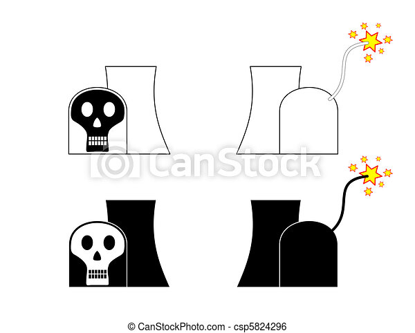 Symbolic nuclear power plant with skull and match cord - csp5824296