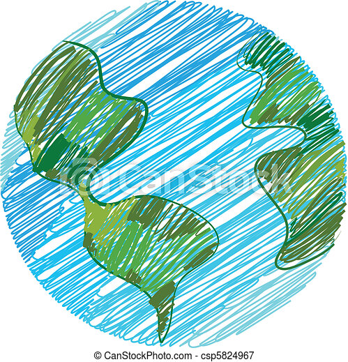 Earth doodle - csp5824967