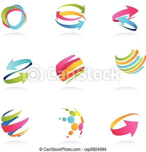 Abstract ribbons and arrows icons - csp5824994