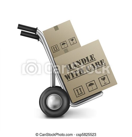 handle with care cardboard box - csp5825523