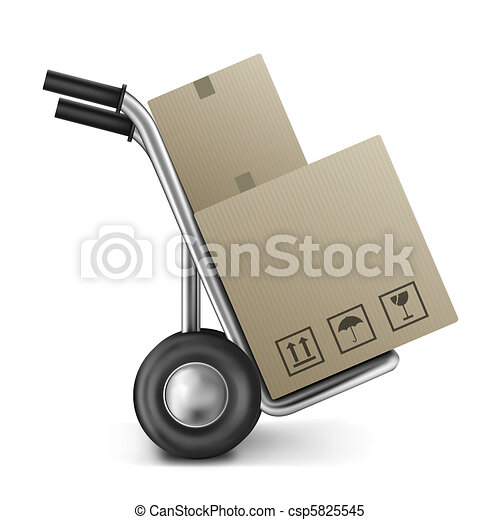 cardboard box on sack truck - csp5825545