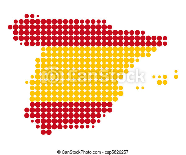 Map and flag of Spain - csp5826257