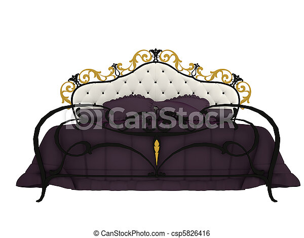 computer visualization classical bed, insulated on white background