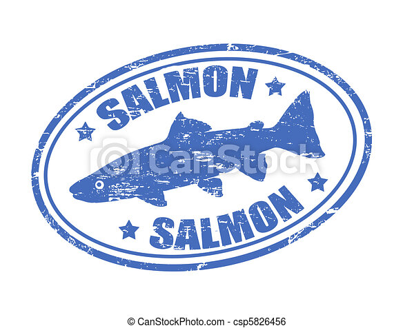 Clip Art Vector of Salmon stamp - Grunge rubber stamp of a ...
