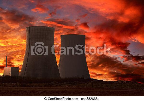 Nuclear power plant with an intense red sky - csp5826664