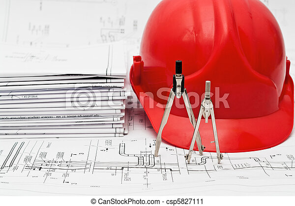 Orange hard hat and heap blueprints - csp5827111