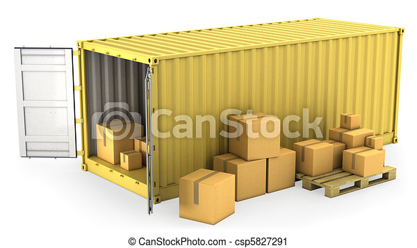 Yellow opened container with a lot of carton boxes - csp5827291