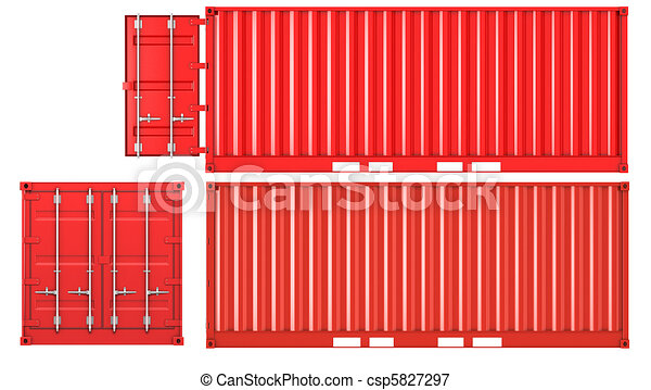 Opened and closed container front and side view - csp5827297