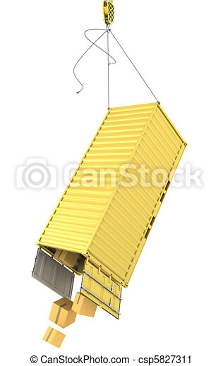 Yellow container falling after accidentally detaching hooks - csp5827311