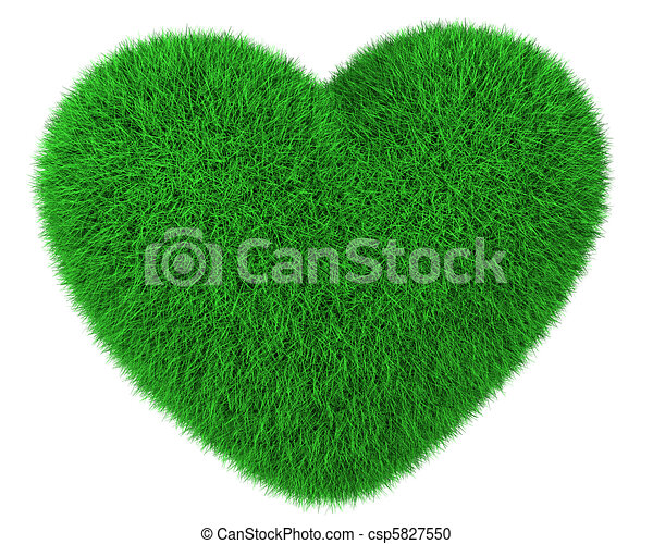 Heart made of green grass isolated - csp5827550