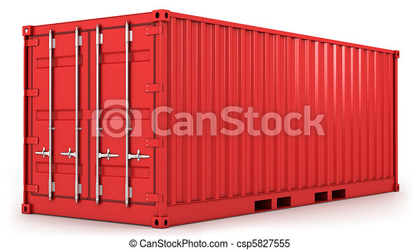 Red freight container isolated - csp5827555