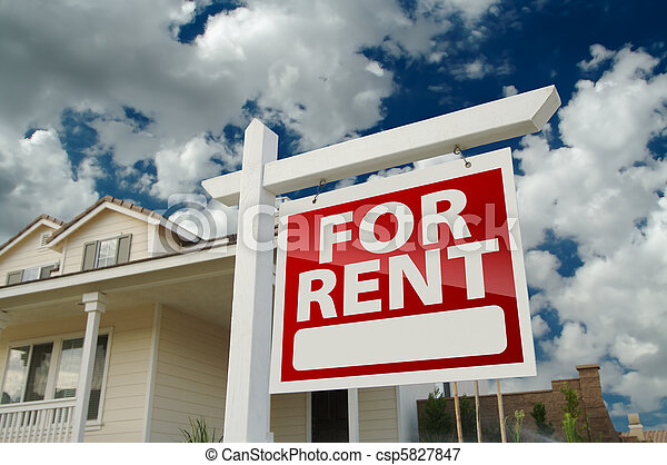 For Rent Real Estate Sign in Front of House - csp5827847