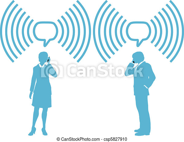 Smartphone business people connect wireless phones - csp5827910