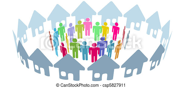 Social neighbor people meet in home ring - csp5827911