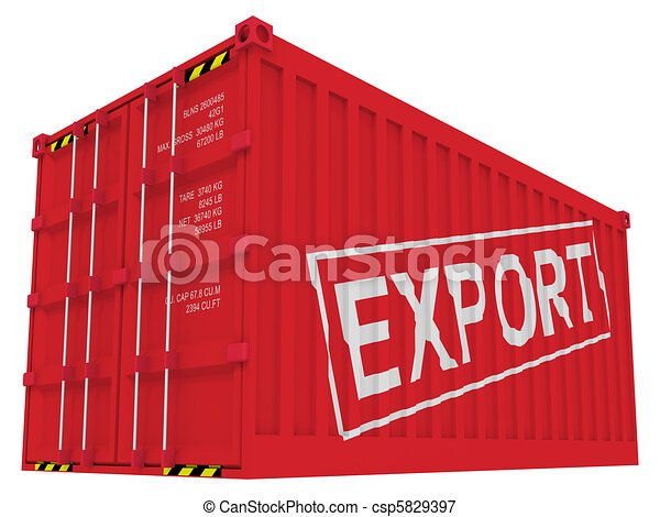 Export cargo container isolated on white - csp5829397