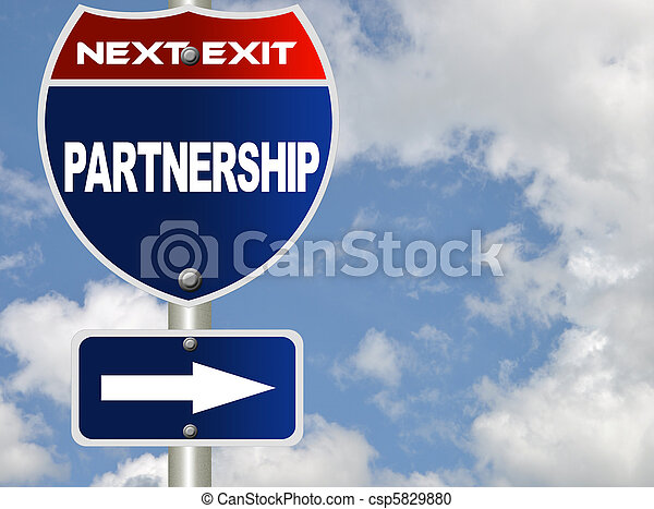 Partnership road sign - csp5829880
