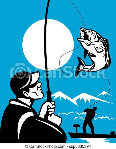 Stock Illustration - Largemouth Bass Fish Fishing - stock illustration ...