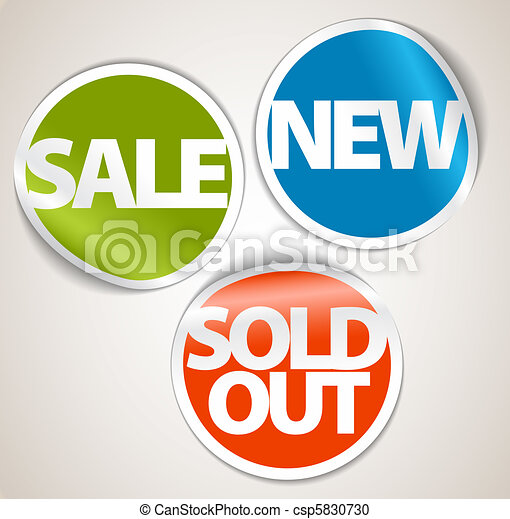 Set of labels for the new, sold out and discount item - csp5830730