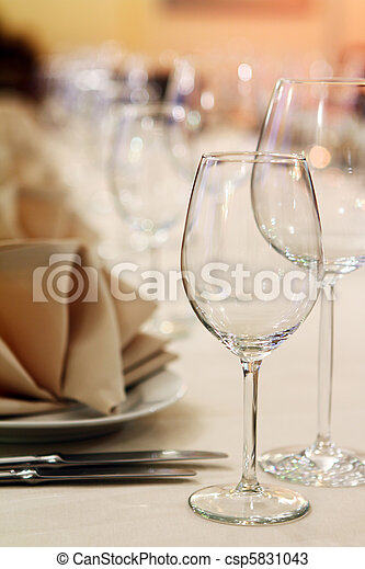 Banquet table with restaurant serving - csp5831043