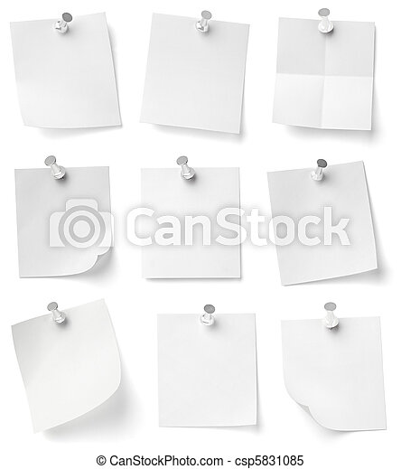 push pin and note paper office business - csp5831085