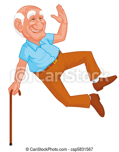 Healthy grandfather jumping - csp5831567
