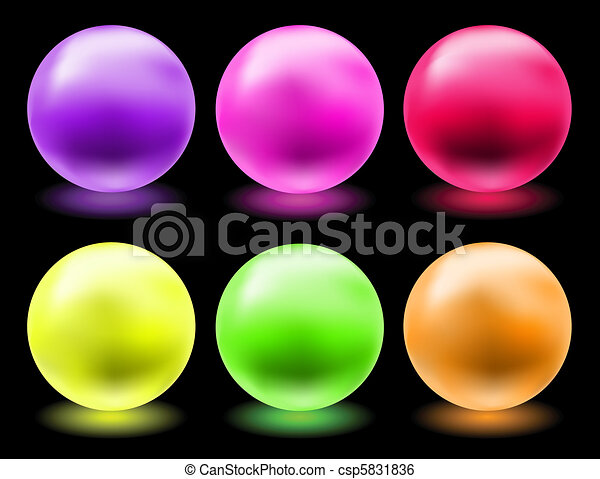 set of glowing magic glass balls - csp5831836
