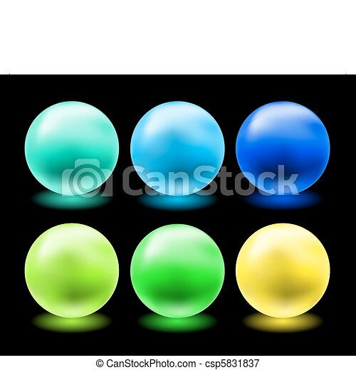 set of glowing magic glass balls - csp5831837
