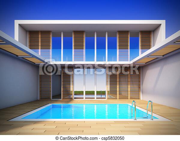 Modern house in minimalist style. - csp5832050