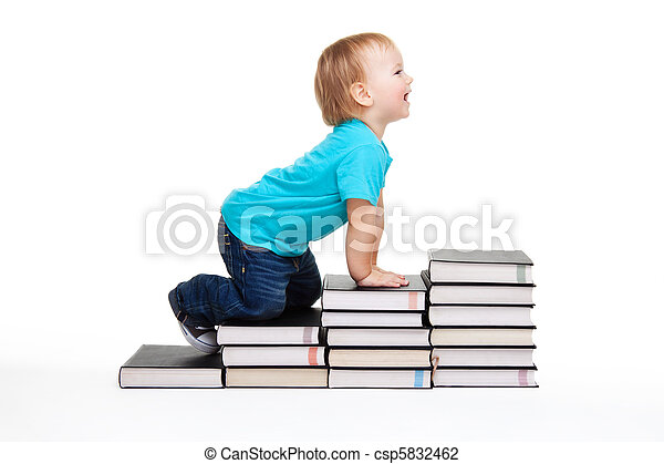 A toddler creeping for knowledge - csp5832462
